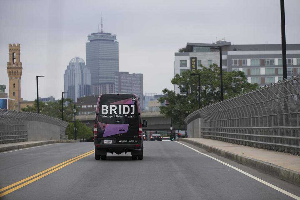 A Bridj vehicle can carry shipments as well as passengers.